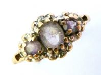 9ct Gold Diamond And Amethyst Three Stone Ring.